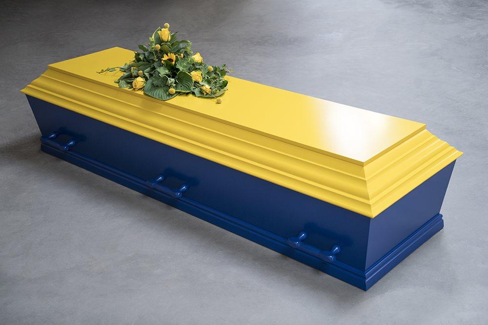 fuglebjergkistefabrik Blå og gul flex kiste med 6 greb